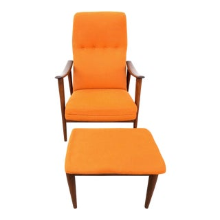 1960s Vintage Mid-Century Modern Folke Ohlsson Dux Reclining Chair & Ottoman - 2 Pieces For Sale