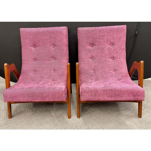 Pair of Newly Upholstered Mid-Century Modern Armchairs For Sale - Image 4 of 13