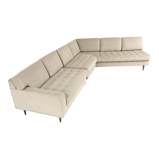 Vintage Mid-Century 2-Piece Sectional Sofa Restored in Gray Loro Piana Alpaca Wool For Sale