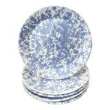 Image of 5 Vintage Bennington Potters Blue Morning Glory Agate Salad or Dessert Plates For Sale