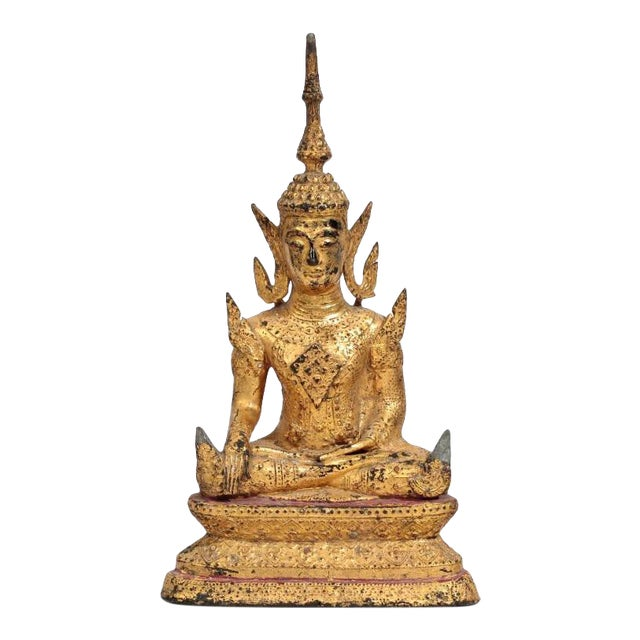 Antique Southeast Asian Gilt Metal Seated Buddha For Sale