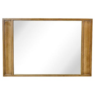 1960s Pecan Wood Framed Mirror For Sale