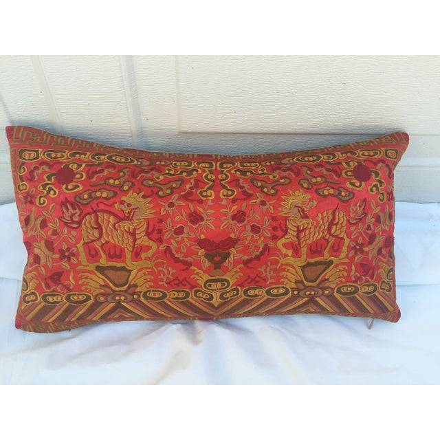 Boudoir pillow made of a vintage colorful embroidered silk Asian textile fragment with foo dogs. New linen back and zipper...