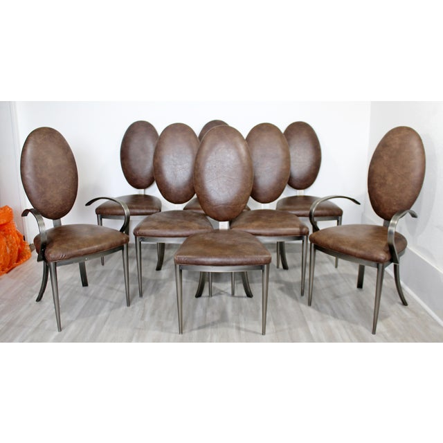 1980s Contemporary Modern Dia Brown Leather Aluminum Dining Chairs - Set of 8 For Sale - Image 5 of 5