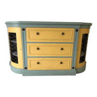 French Provençal Decor Painted Hall Cabinet For Sale