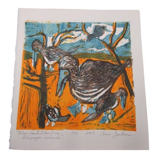 Vintage Lithograph Titled: Blue Footed Boobies Signed by Artist: Ann Zahn For Sale