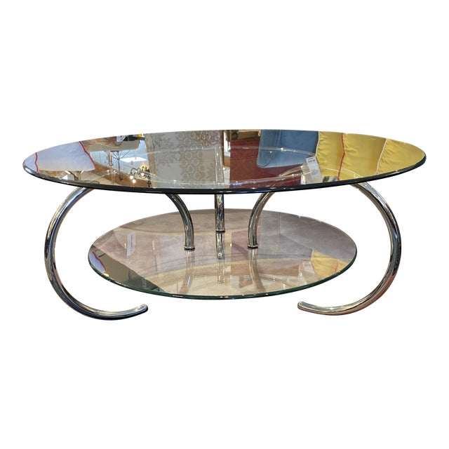 Mid 20th Century Glass & Polished Chrome Coffee Table For Sale