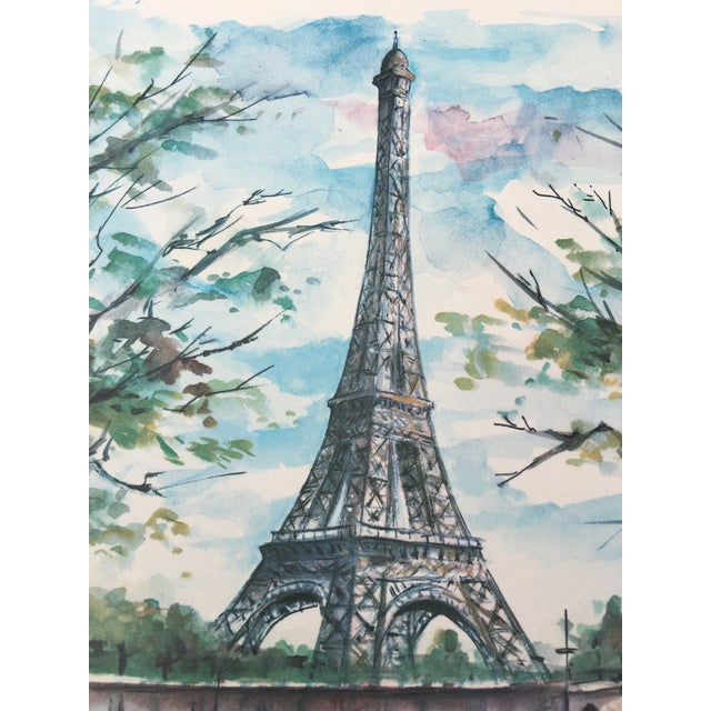 French Watercolor Print of Paris For Sale - Image 4 of 5