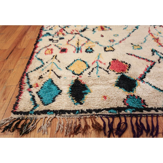 Turquoise Small Vintage Moroccan Colorful Rug - 4′2″ × 7′ For Sale - Image 8 of 10