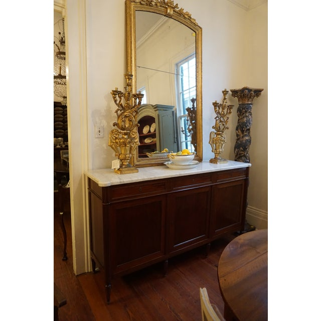 19th Century Louis XVI Walnut Enfilade With Marble Top For Sale - Image 11 of 12