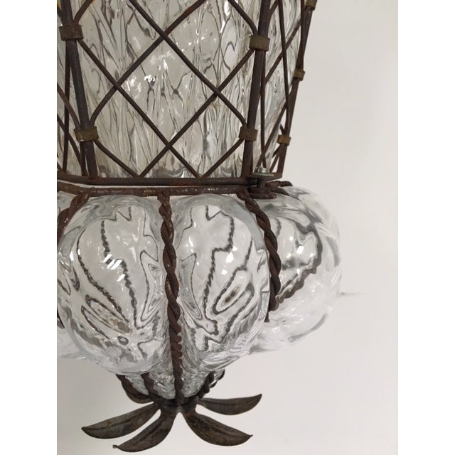 Vintage Clear Murano Baloton Style Glass Single Light Pendant For Sale In West Palm - Image 6 of 10