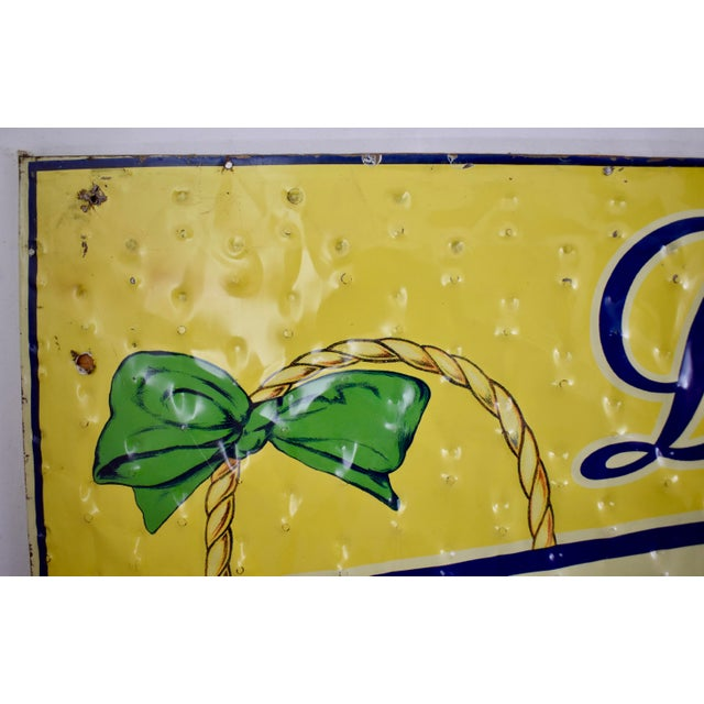 Early 20th Century Quilted Tin Advertising Sign, Early 20th-C. Grape Ola Soda For Sale - Image 5 of 11