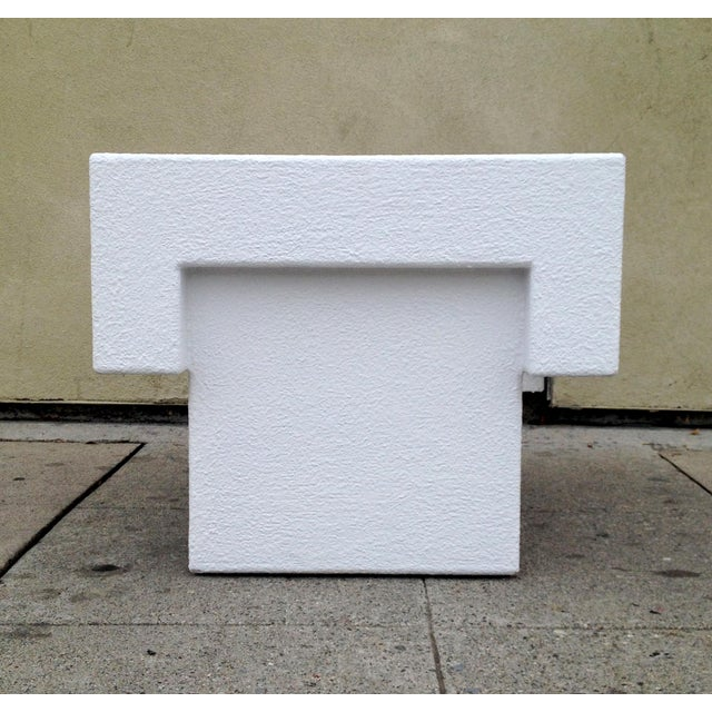 Architectonic Textured Plaster Side Tables, Pair - Image 3 of 7