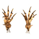 Image of Mid Century French Gold Metal Wheat Leaf Lighting Sconces Pair For Sale