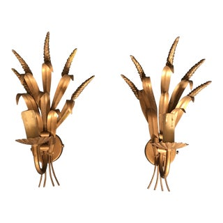 Mid Century French Gold Metal Wheat Leaf Lighting Sconces Pair For Sale