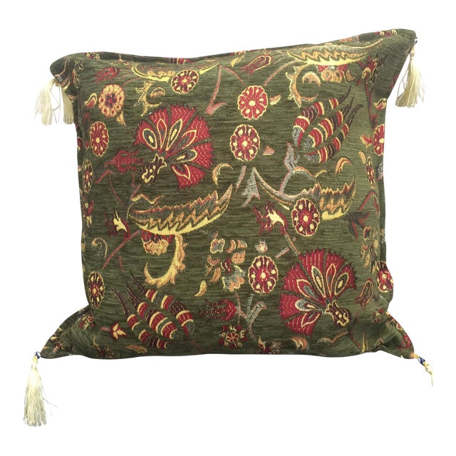 Boho Chic Green Kilim Pillow Cover For Sale