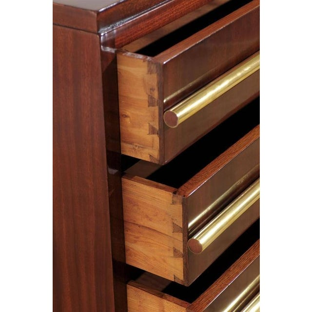 Brass Signed Andre Sornay Chest in Ribbon Mahogany and Brass For Sale - Image 7 of 11