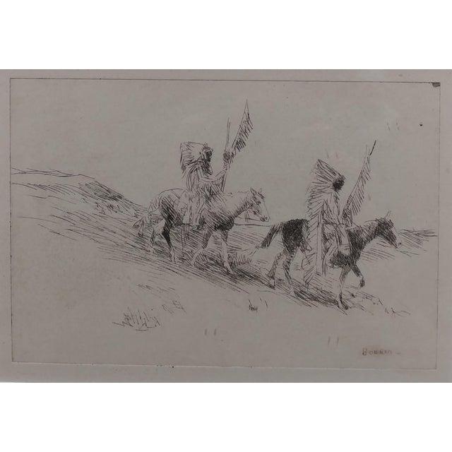 Edward Borein - Two Indian in Full Headdress on Horseback -Print For Sale - Image 10 of 10