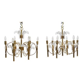 Pair of Mid-Century Sciolari Gold-Plated Brass and Crystal Six-Light Chandeliers For Sale