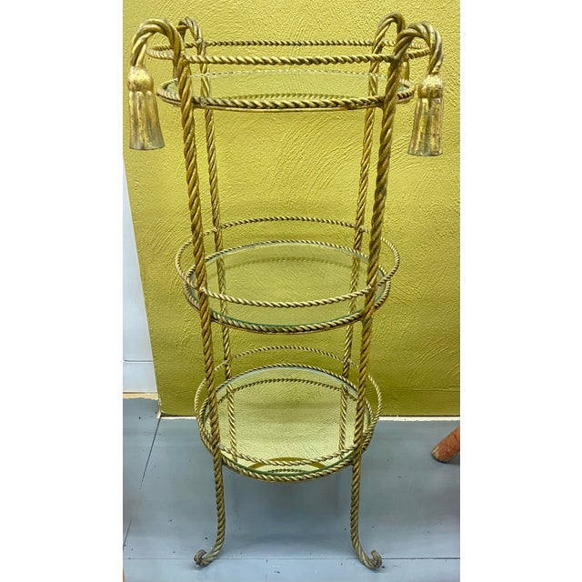 Mid 20th Century Vintage Hollywood Regency 3 Tiered Rope and Tassel Table For Sale - Image 5 of 5