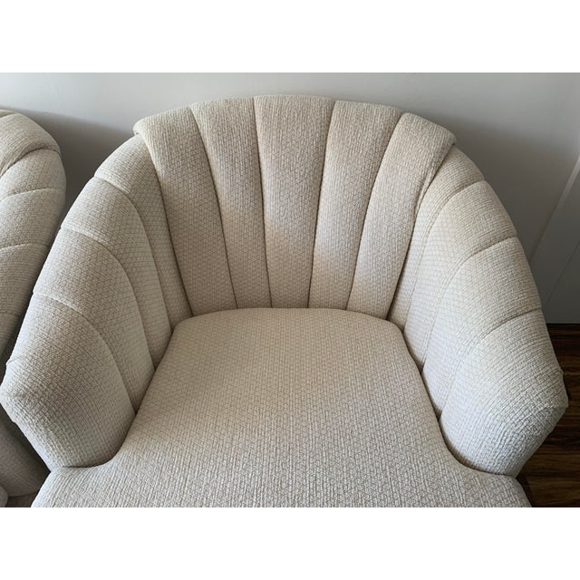 Channel Back Club Chairs in the Manner of Kagan - a Pair For Sale - Image 12 of 13