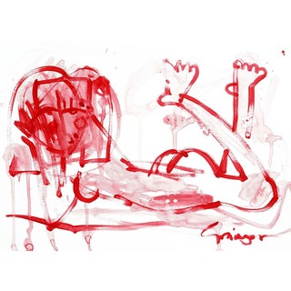 Lesley Grainger 'Red Girl Bathing No 10' Original Figure Painting For Sale