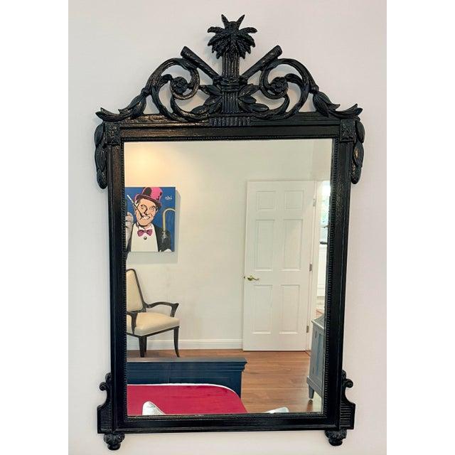 Antique Regency Style Black Paint Decorated Mirror
