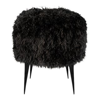Black Mongolian Sheepskin Ottoman With Polished and Blackened Stiletto Casted Feet