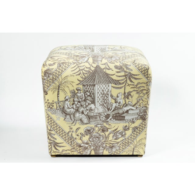 1990s 0f Chinoiserie Toile Ottomans - a Pair For Sale - Image 5 of 10