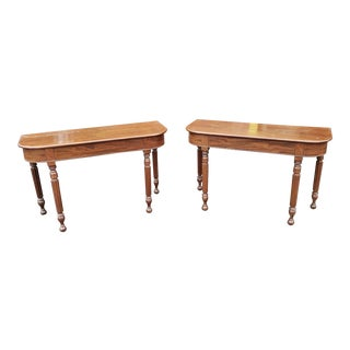 Pair 19th Century English Santo Domingo Mahogany D Formed Console Tables C1880 For Sale