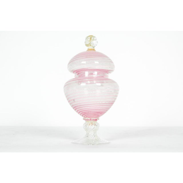 Mid 20th Century Vintage Murano Glass Decorative Covered Dish For Sale - Image 5 of 5