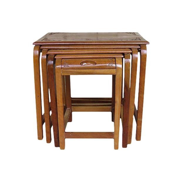 1960s Americana Teak Nesting Tables Set Of 4 Chairish