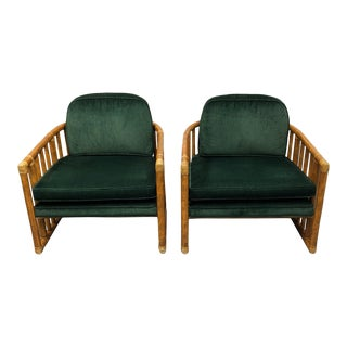 McGuire Bamboo & Leather Wrap Barrel Chairs - a Pair For Sale