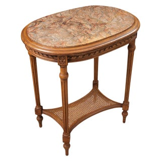 French 19th Century Louis XVI Walnut Table With Marble Top For Sale