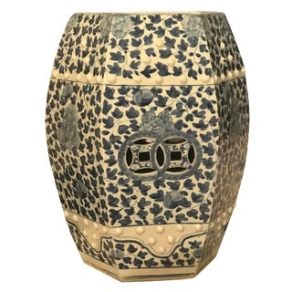 Chinese Blue & White Ceramic Hexagonal Garden Seat For Sale