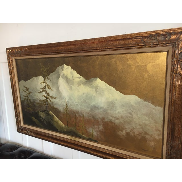 1980s Original Gold Leaf on Masonite Painting by Les Parisch - Grand Tetons For Sale - Image 5 of 12