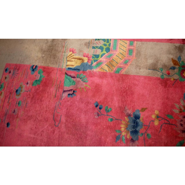 Pink 1920s Antique Art Deco Chinese Rug - 8′10″ × 11′8″ For Sale - Image 8 of 10