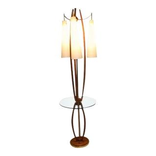 Mid Century Vintage Walnut Brass Floor Lamp Side Table For Sale