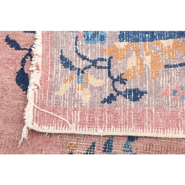 Textile Mid 20th Century Chinese Hand Knotted Floral Rug For Sale - Image 7 of 8