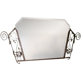 1930's French Art Deco Wrought Iron Beveled Mirror For Sale