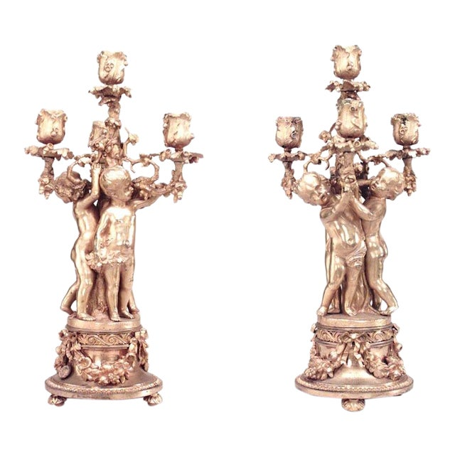 Pair of French Louis XV Style '19th Century' Four-Arm Candelabra For Sale