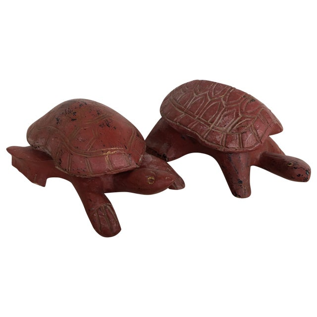 Hand Carved Wooden Turtles - Pair For Sale