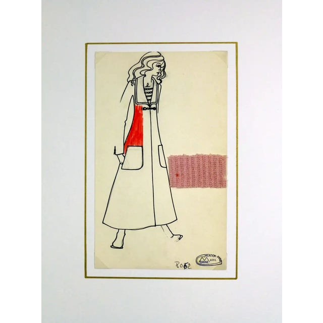 Vintage Paris Fashion Drawing - Knit Overcoat, C. 1980 For Sale - Image 4 of 7