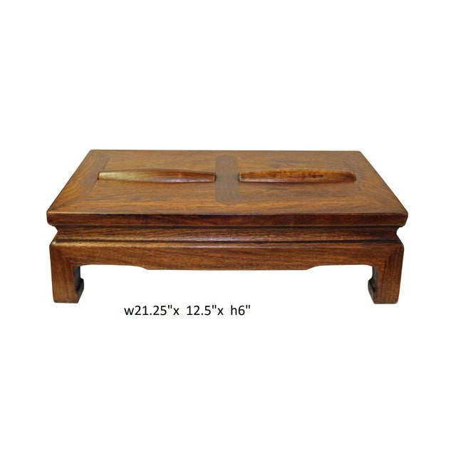 Wood Brown Rosewood Simple Oriental Rectangular Rolling Bar Footrest Table For Sale - Image 7 of 7