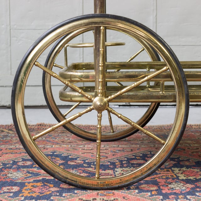 Brass Bar Cart With Glass Shelves - Image 7 of 11