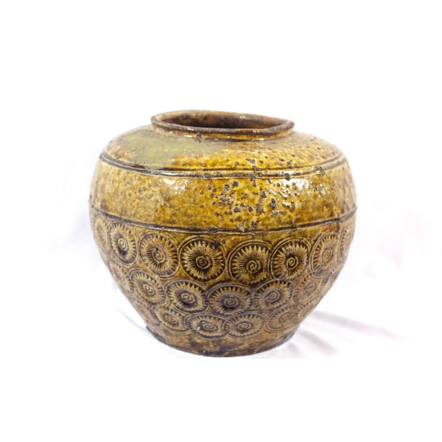 Ceramic Antique 19th Century Thai Pottery Olive Green Sunburst Floral Motif Vessel For Sale - Image 7 of 7