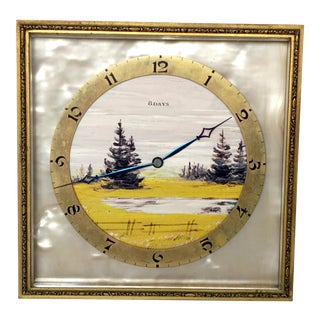 Hand-Painted Swiss Clock with Markings