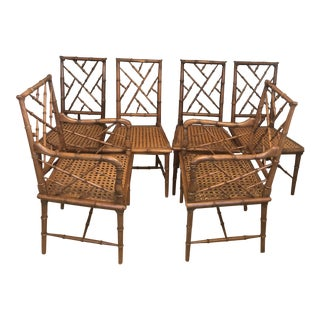 Vintage Faux Bamboo Dining Chairs- Set of 6 For Sale