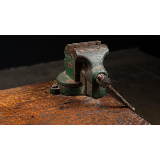 Vintage Industrial Machinist Cabinet With Bench Vise For Sale In Chicago - Image 6 of 11