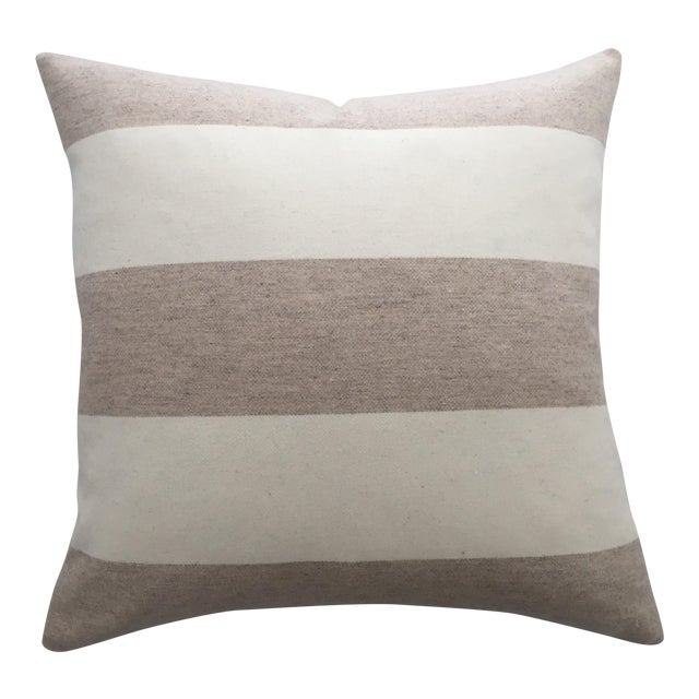 FirmaMenta Italian Eco-Friendly White and Cream Stripes Wool Pillow - Image 1 of 4